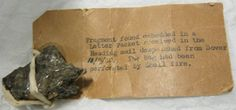 Frament of shrapnel found embedded in a Letter Packet received in the Reading mail despatched from Dover, 11 September 1940. The bag had been perforated by shell fire. #WW2