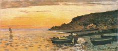 Seacoast at Saint-Adresse, Sunset - Monet Claude Monet Paintings, Impressionist Paintings, Landscape Paintings, Claude Monet, Pierre Auguste Renoir, Charles Gleyre, Tolouse Lautrec, Oil Painting Techniques, Art Techniques