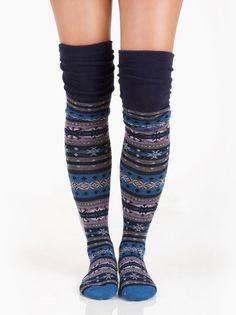Fair Isle Knee High Socks