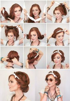 46 Super Ideas for Bandana Hairstyles Rockabilly Hair Tutorial, Bandana Hairstyles Short, Hipster Hairstyles, Scarf Hairstyles, Vintage Hairstyles, Cool Hairstyles, Wedding Hairstyles, Vintage Updo, Office Hairstyles, Anime Hairstyles