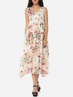 #AdoreWe #FashionMia Maxi Dresses - FashionMia Assorted Colors Printed Delightful V Neck Maxi-dress - AdoreWe.com