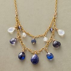 "NIGHT LIGHTS NECKLACE -- Moonstones shimmer among dusk-to-dawn hues of iolite, kyanite, lapis and sapphire. By Thoi Vo in 14kt goldfill. Lobster clasp. Exclusive. Handmade in USA. 16"" to 19""L."