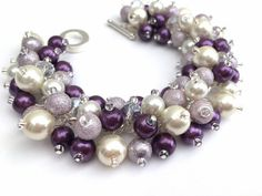 Plum Heather and Ivory Bracelet Pearl Cluster by KIMMSMITH on Etsy