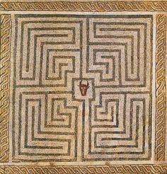 "Minotaur in Labyrinth, Roman mosaic at Conímbriga, Portugal. """