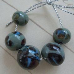 SRA Blue Green Organic Lampwork Beads Set of Six by JBJGlassStudio, $16.00