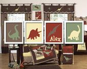 Custom Personalized Name Dinosaur Boy Print Artwork Set of 4 Prints Wall Decor Art Nursery Picture Nature. $38.50, via Etsy.