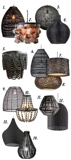 Modern Boho chandeliers & pendants lights - eclectic, textural & interesting to look at. Shop 14 chic + 14 black modern Boho lighting options right here. Chandelier Design, Black Chandelier, Beaded Chandelier, Chandelier Pendant Lights, Chandelier Ideas, Chandelier Bedroom, Pendant Lighting Bedroom, Pendant Track Lighting, Boho Lighting