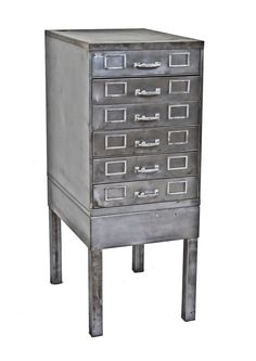 """refinished c. 1950's american antique industrial factory office """"tanker"""" style freestanding filing cabinet with aluminum handles and label holders"""