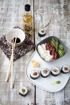 On continue dans la sushi party … En l'occurrence c'est plus des makis, mais bon vous avez compris l'idée quoi ! Alternative pour ceux qui ne mangent pas de poisson cru, idéal pour les carnivores, ...