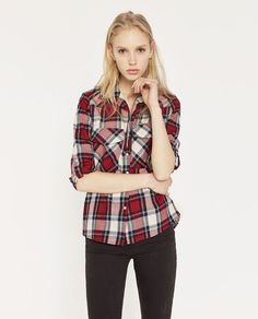 V-Neck Check Shirt from Zara