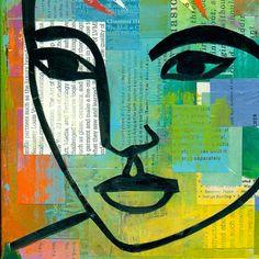 modern abstract collage portrait ORIGINAL by ElizabethRosenArt