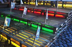Pallets bleachers.....team color lights.....Pallet For Outdoor FIFA party