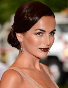 Camilla Belle - Her flawless olive skin and striking eyebrows help offset the intensity of the deep burgundy lip color she wore to the 2012 Met Ball in New York City. --This is how you do dark lips! Camilla Belle, The Beauty Department, Vampy Lipstick, Lipstick Shades, Wedding Hairstyles, Cool Hairstyles, Burgundy Lips, Deep Burgundy, Maroon Lips