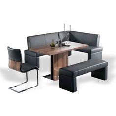 Armen Living LCZEDIWA Zenith Dining Table in Walnut/Stainless Steel