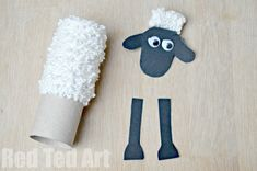 TP Roll Shaun the Sheep Craft - Red Ted Art - Make crafting with kids easy & fun Toilet Roll Craft, Toilet Paper Roll Crafts, Cardboard Crafts, Toddler Crafts, Crafts For Kids, Arts And Crafts, Sheep Crafts, Felt Crafts, Lamb Craft