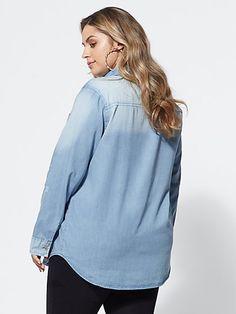 Plus Size Cheyenne Distressed Chambray Shirt - Fashion To Figure Plus Size Blouses, Plus Size Tops, Fashion To Figure, Shirt Style, Bodysuit, Chambray, Womens Fashion, Sweaters, Shirts