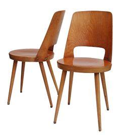 Chaises bistro Baumann, années 50-60, placage bois courbé