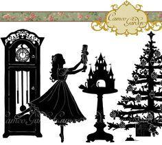 silhouette the nutcracker clipart christmas clip by cameogarden