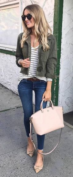 Casual Style Obsession Jacket Plus Stripped Top Plus Bag Plus Heels Plus Jeans