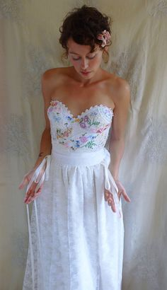 RESERVED Meadow Bustier Wedding Gown... whimsical dress boho fairy romantic country woodland eco friendly by Jada Dreaming on Etsy $320-- love the side ribbons
