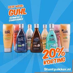 20% KORTING op Guhl shampoo & conditioner!  Met Guhl gun je jezelf met iedere wasbeurt iets bijzonders. Of je nu jouw droge haar wilt verzorgen, meer volume wilt of op zoek bent naar een specifieke shampoo tegen roos: Guhl heeft alle lijnen en producten.  Bekijk ons ruime assortiment op de website! www.stuntpakker.nl