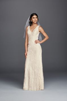 For a fall wedding a Flower Lace V-Neck Wedding Dress with Empire Waist and Open Back by Galina available at David's Bridal