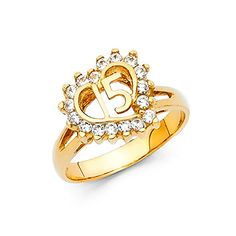 online shopping for GemApex Sweet 15 Ring Heart Solid Yellow Gold Quinceanera Band CZ Stylish Design Polished Finish from top store. See new offer for GemApex Sweet 15 Ring Heart Solid Yellow Gold Quinceanera Band CZ Stylish Design Polished Finish Deco Engagement Ring, Rose Gold Engagement Ring, Vintage Engagement Rings, White Gold Rings, White Gold Diamonds, Gold Diamond Wedding Band, Size 10 Rings, Bridal Jewelry Sets, Designer