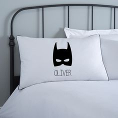 This high quality personalised batman pillowcase is perfect for little ones bedrooms. You supply the name and it is digitally printed on to a 230 thread count 100% cotton white base. The child's name sits underneath the famous black mask and the pillowcase is edged with black piping for a really smart look.