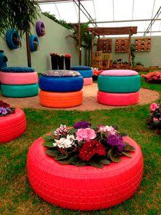 Aprenda a reciclar e usar pneus na decoração. http://blog.iazamoveisdemadeira.com.br/meio-ambiente/recicle-e-decore-personalize-pneus-usados/13/
