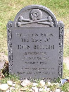 """Amazing epitaph: """"I may be gone but rock and roll lives on"""" John Belushi Cemetery Monuments, Cemetery Statues, Cemetery Headstones, Old Cemeteries, Cemetery Art, Graveyards, Angel Statues, Natalie Wood, Unusual Headstones"""