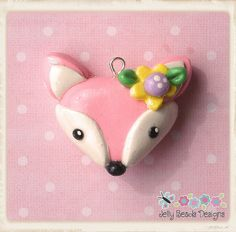 pink fox charm, bow center, pendant, charm
