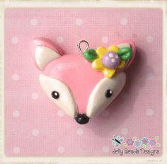pink fox charm, bow center, pendant, charm