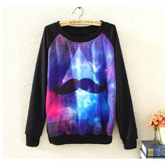 Interesting Mustache and Starry Sky Print Top Free Shipping