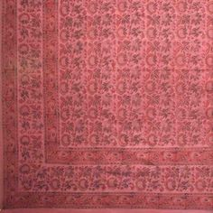 Handmade 100% Cotton Floral Block Tapestry Tablecloth Throw Coverlet Red Full