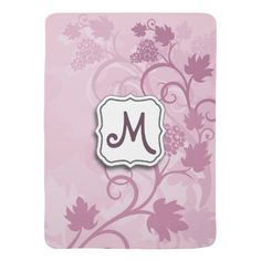 Abstract Swirl Floral Lavender Grapes and Monogram Receiving Blanket