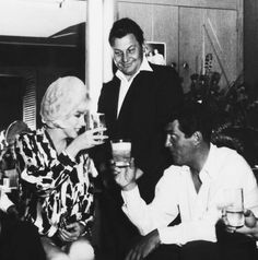 """Cheers! Dean & Marilyn make a birthday toast in his dressing room    [Dean Martin & Marilyn Monroe] """"Something's Got To Give"""" (1962)"""