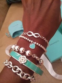 see more Cute, Lovely, Silver and Blue Colored, Different Shaped Bracelets