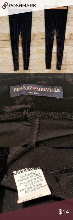 Brandy Melville Crushed Velvet Leggings Brandy Melville Crushed Velvet Leggings * Excellent pre-owned condition * Black * One size Brandy Melville Pants Leggings