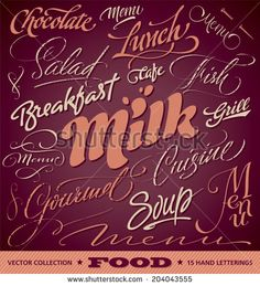 FOOD menu headlines set of 15 hand letterings -- custom handmade calligraphy, vector (eps8) - stock vector #download #stock #StockImages #microstock #royaltyfree #vectors #calligraphy #HandLettering #lettering #design #letterstock #silhouette #decor #printable #printables #craft #diy #card #cards #label #tag #sign #vintage #typography