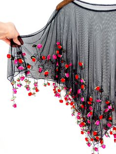 It's Raining Roses Fringe Beaded Sheer Poncho // Boho Diy Fashion, Fashion Outfits, Hijab Fashion, Blouse Designs, Blouse Patterns, It's Raining, Short Frocks, Kids Gown, Cape Dress