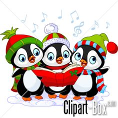 CLIPART PENGUIN CHRISTMAS CHORAL | Royalty free vector design