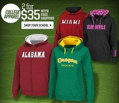 NCAA College Hoodies 2 For $35 + FREE Shipping! - http://couponingforfreebies.com/ncaa-college-hoodies-2-35-free-shipping/