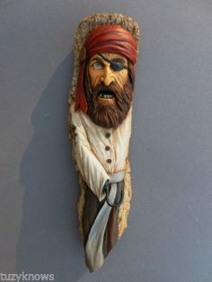 ORIGINAL-WOOD-SPIRIT-TREE-CARVING-PIRATE-RED-SCARF-RUSTIC-DECOR-by-Suzy-Fueshko