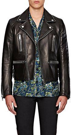 Burberry X Barneys New York Men's Studded Leather Biker Jacket-Black