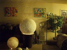 "Home/studio, Farrell Hamann Fine Art, Sacramento, CA Glowing sphere sculptures, ""Friendly Series"" acrylic paintings. Then, not now."
