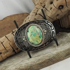Western Belt Buckle  Turquoise Belt Buckle  Boho by CJsRocksGems