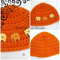 Elephant buttons make this baby hat super adorable!   https://www.etsy.com/listing/177215427/crochet-baby-cap-with-elephant-buttons?