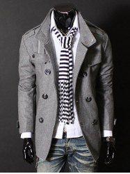 Epaulet Zipper Design Double Breasted Wool Blends Coat - DEEP GRAY