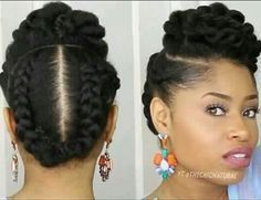 5 Gorgeous Natural Hair Styles That Are Super Easy to Do - - Are you styling-challenged? Do you want an easy, gorgeous style to try this month? Then check out these five natural looks: Twisted Updo Start on stretched hair (via African threading…. Natural Hair Updo, Pelo Natural, Natural Hair Care, Simple Natural Hairstyles, African American Natural Hairstyles, Professional Natural Hairstyles, American Hairstyles, My Hairstyle, Girl Hairstyles