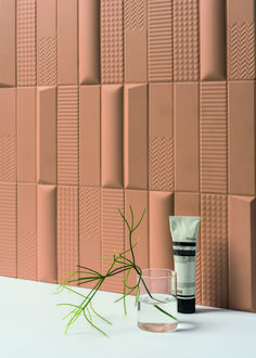 Hip Italian firm launched Biscuit, a line of tiles with uniform footprints but varying effects, offering infinite, super-textural customization. 3d Wall Tiles, Mosaic Tiles, 3d Tiles Bathroom, Bathrooms, Cement Tiles, Kitchen Backsplash, Ceramic Design, Tile Design, 3d Home Design